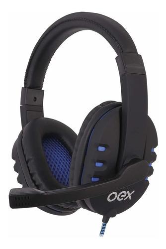 Headset Bit Oex Usb C/ Microfone Hs206 - Preto Com Azul
