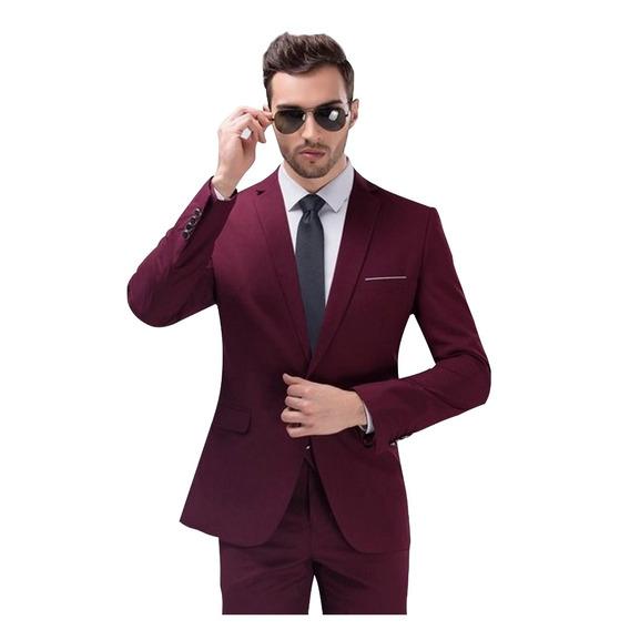 Terno Masculino Slim Fit Vinho E Azul Royal Gravata Brinde