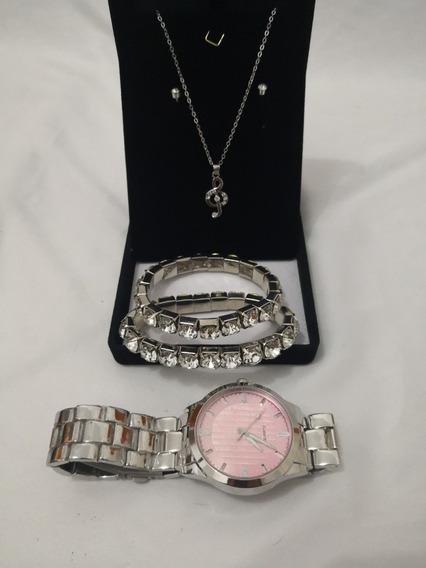 Kit Relógio Prata Quartz Shkrpcb0001 Colar+brinco+pulseira