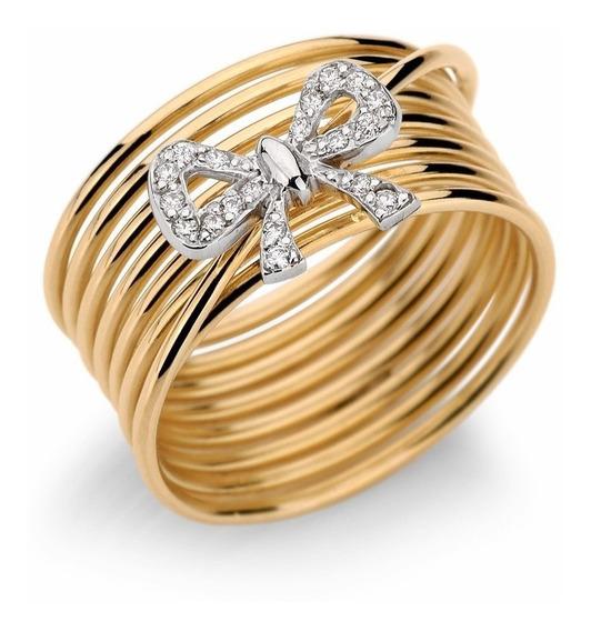 Anel Laço Em Ouro Amarelo 18k E Diamantes (0,19cts). Código: