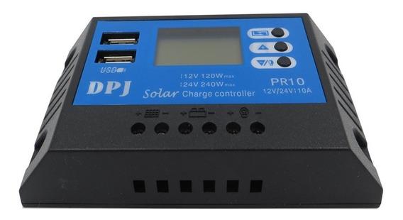 Controlador De Carga 10a 12v/24v Pwm Com Usb E Display Lcd