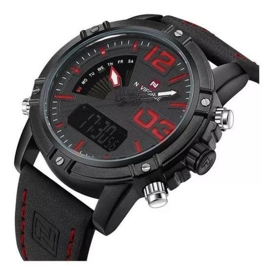Relógio Naviforce 9095 Pulseira De Couro Original Promoção