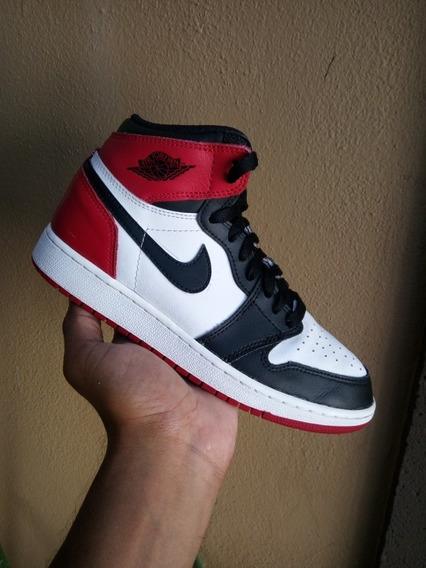 Air Jordan 1 Retro Bg Black Toe 2016 Originales De Uso