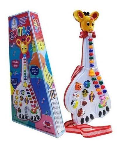 Guitarra Girafa Musical Infantil 26 Teclas Sons E 10 Música