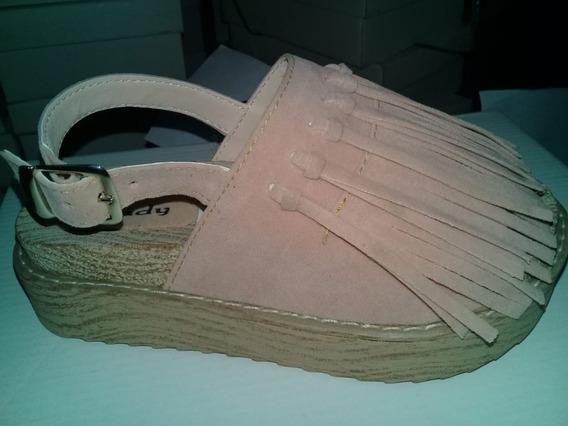 Sandalias De Mujer Con Flecos En Gamuza