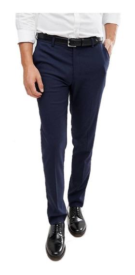Pantalon Vestir Hombre Azul Sport Trop Oficina Empresa+