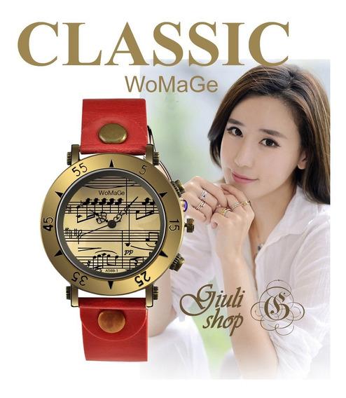 Relógio De Pulso Feminino Gravura De Notas Musicais - Womage