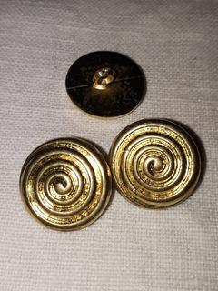 Boton Sastre Pata Dorado Espiral. 18mm. Pack 10.