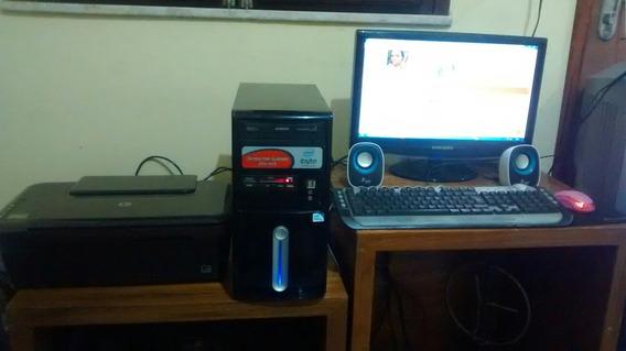 Computador Completo Com Cpu Monitor Pctv Mais Impressora Hp