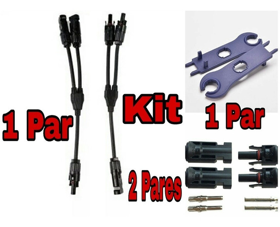 Kit Conector Mc4 Y 1 Par, 2 Par Mc4 E 1 Par Chave Esticador