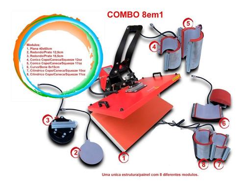 Prensa Termica Kit 8em1 40x60 Camiseta Chinelo Copo Canecas