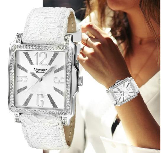Relógio Champion Quadrado Prateado Feminino Grande Ch24222s