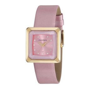 Mondaine Relógio Quadrado Cristais Rosa