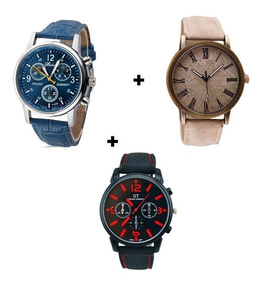 Kit 3 Relógios Masculinos Cores Variados Elegante Preço Bom