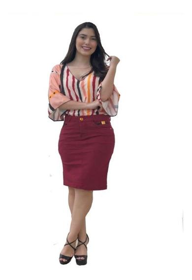 Saias Femininas Moda Evangélica Saia Secretária Executiva Jeans Vermelho 067