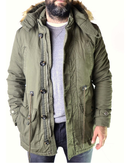 Campera Parka Militar Verde Negro Camuflada The Big Shop