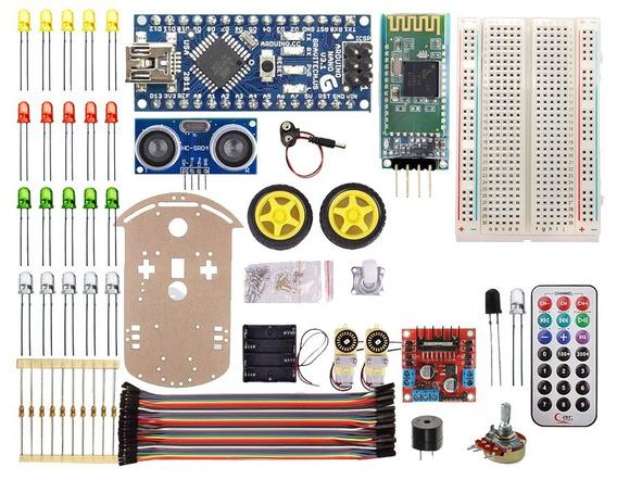 Kit Educacional Chassi Robótico Acrílico Arduino - Completo