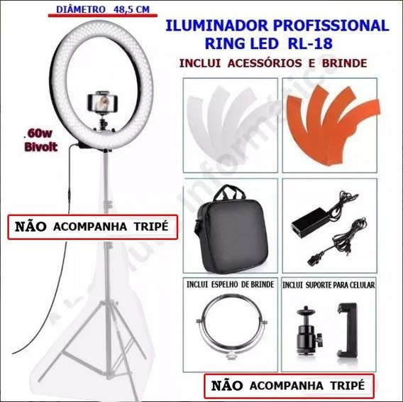 Iluminador Ring Led Rl-18 + Fonte Ac + Bolsa + Brinde