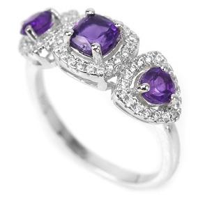 Anel Prata 925 Pedra Natural Ametista Purpura Aro 19