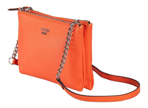 Imagen 1 de 7 de Bolsa Guess Kalei Mini Dbl Zip Crossbody En Color Naranja