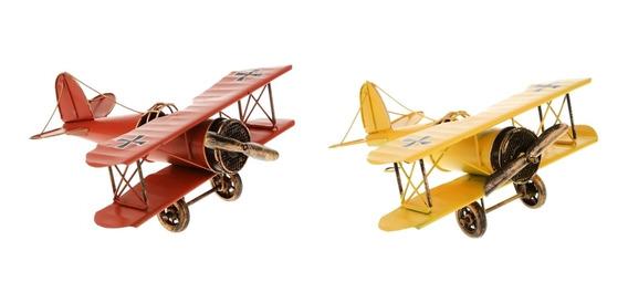 2x Avión De Metal Vintage Modelo Biplano Aviones Juguete
