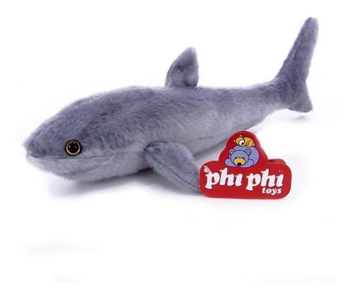 Imagen 1 de 4 de Peluche Animales Tiburon Real 40 Cm. Phi Phi Toys