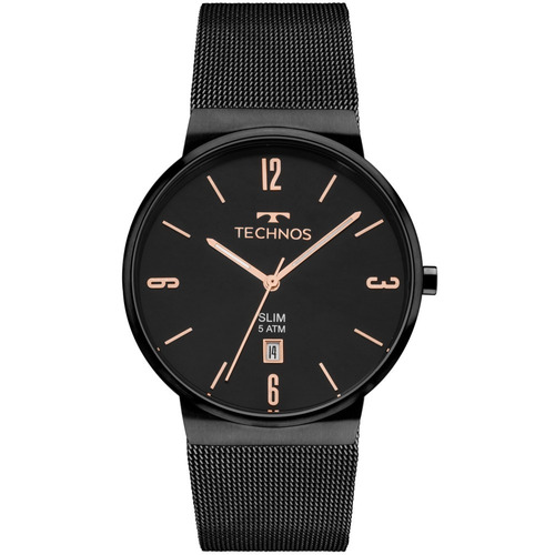 Relógio Technos Unissex Preto Slim Gm10yj/4p À Vista + Nf-e
