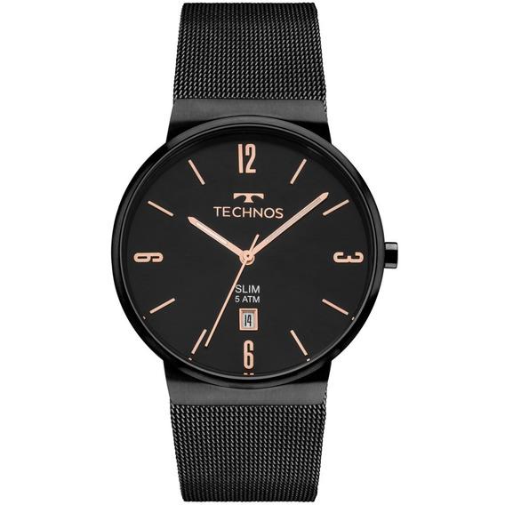 Relógio Technos Unissex Preto Slim Analógico Gm10yj/4p + Nf