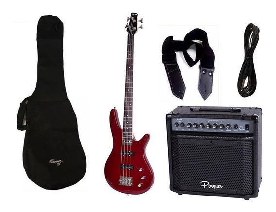Combo Bajo Electrico Parquer Jazz Bass Rojo Amplif 20 Cuota