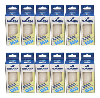 Kit C/ 12 Bandagem / Atadura Elastica Média Compressão Famara Cor Natural 10cm X 1,30m C/ Presilhas