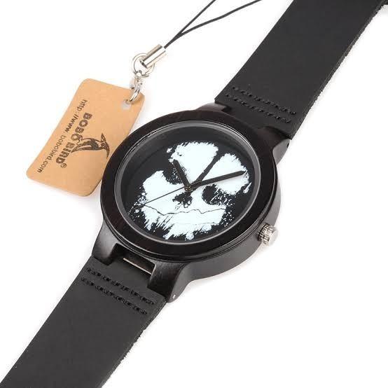 Relógio Bobo Bird - Madeira Modelo Analógico Caveira D24