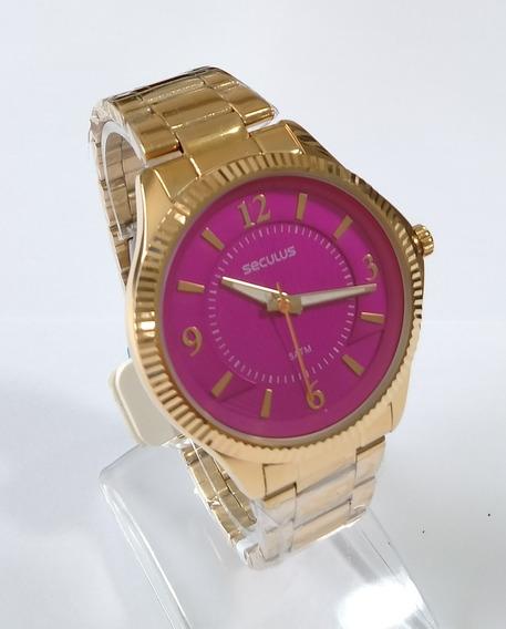 Relógio Dourado Feminino Original Séculus Ref-20545lpsvds2.