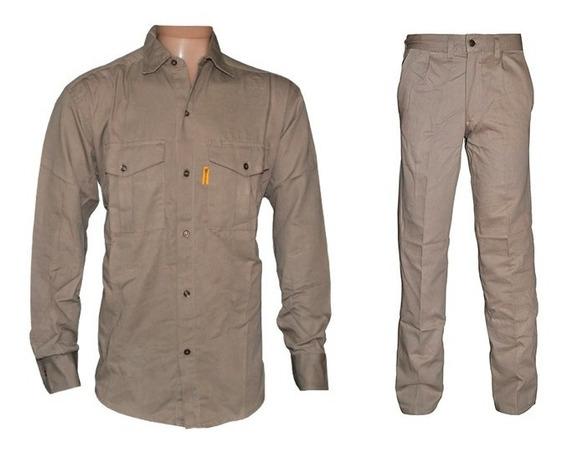 Camisa Y Pantalon De Trabajo Gaucho Beige + Logo Bordado