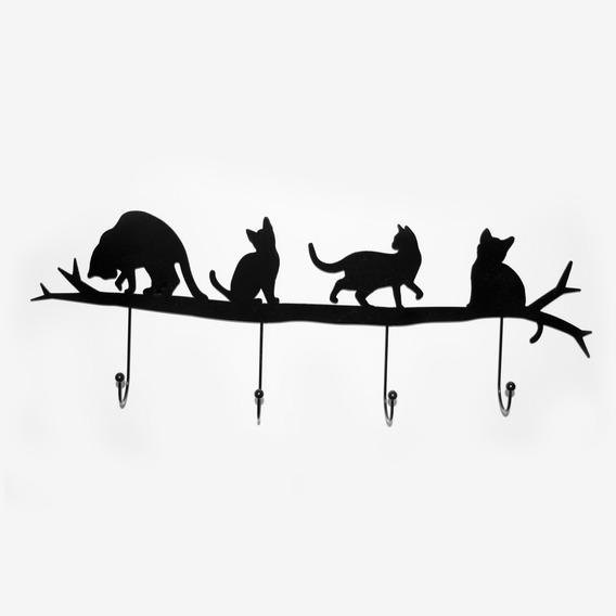 Perchero De Pared Diseño Gato Decoración Morph