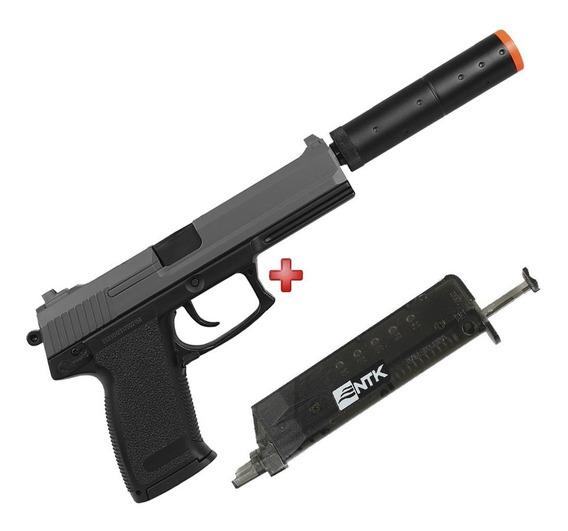 Pistola Silenciador Airsoft Spring Hk Usp M23 + Speed Loader