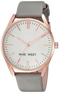 Reloj Nine West Rose Goldtone Y Correa Gris