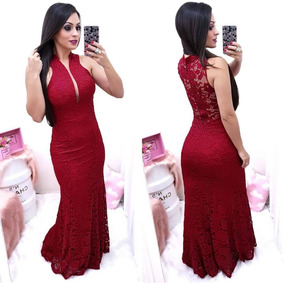 8d3747c586 Vestido Sereia Longo Com Tule Vermelho - Vestidos no Mercado Livre ...