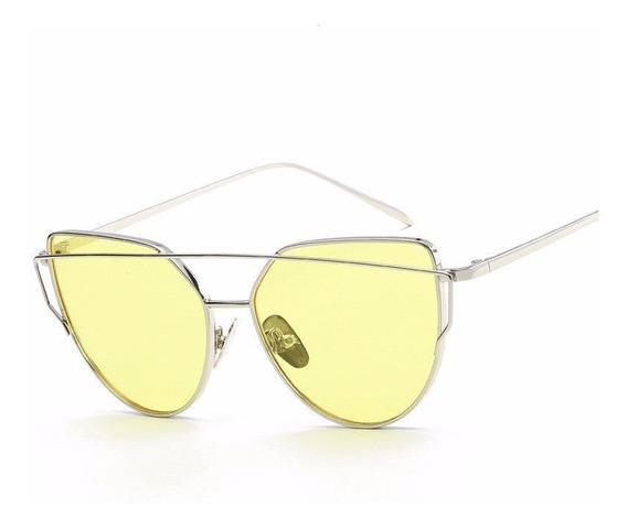 Óculos De Sol Gatinho - Lentes Coloridas - Amarela