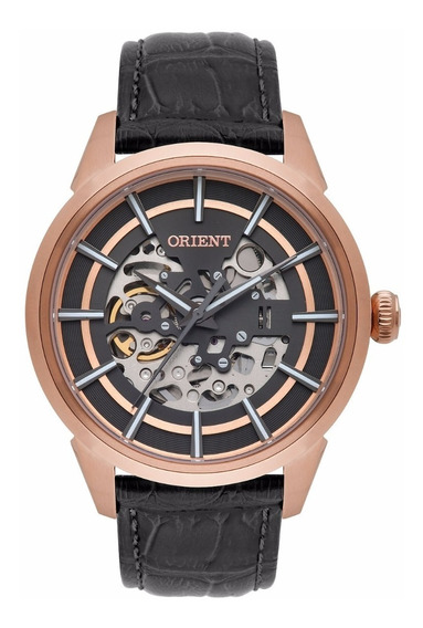 Relógio Orient Masculino Automático Nh7rc001 Esqueleto Rose