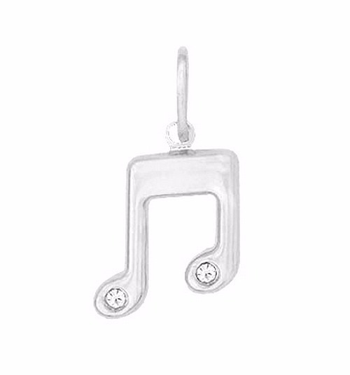 Pingente Nota Musical Strass Prata Pura 990 (não É Banhado)