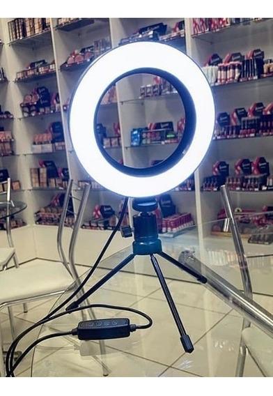 Ring Light Pequeno Com O Tripé 3 Tons De Luzes