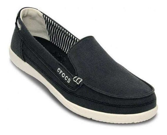 Crocs Walu Canvas Black-oyster Mocasin Mujer Originales