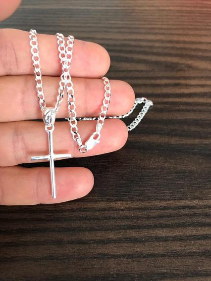Corrente De Prata 3mm + Crucifixo Palito Liso Maciço 925
