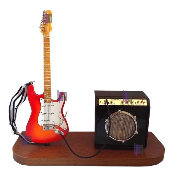 Palco Miniatura Guitarra Strato E Amplificador