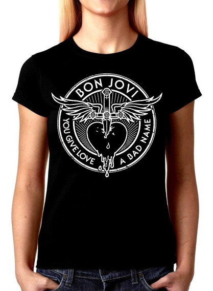 Camiseta Baby Look Feminina Bon Jovi You Give Love Bandas