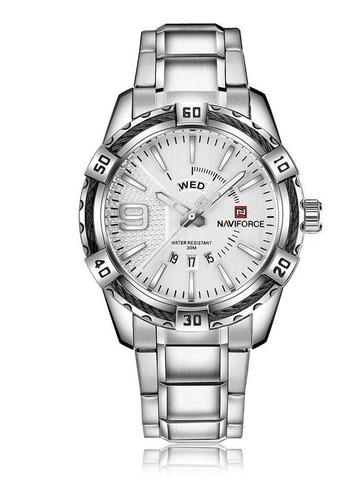 Relógio Masculino Naviforce Aço Inox Prata 9117 Importado