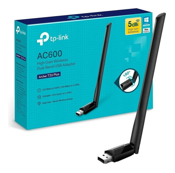 Adaptador Tp-link Archer T2u Plus Ac600 Usb Wireless