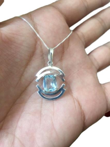 Cordão Colar Topázio Azul E Prata 925 Cl81