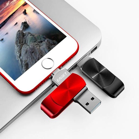 Eaget 128g Flash Drive 2-em-1 Disco De Memória Para iPhone