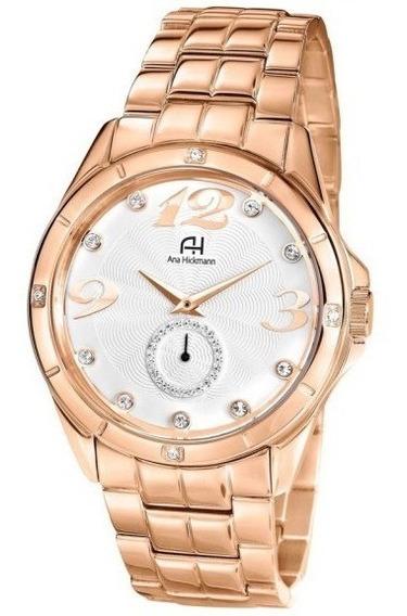 Relógio De Pulso Ana Hickmann Feminino Rose C/nf Ah28599z